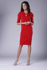Czerwona Elegancka Dopasowana Sukienka z Drapowaniem na Rękawie