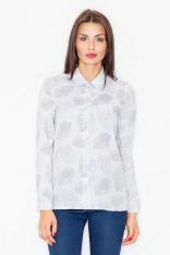 Ecru Koszula z Subtelnym Wzorem Liści