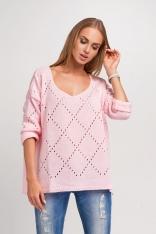 Oversizowy Różowy Sweter Ażurowy z Dekoltem V