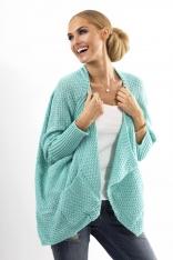 Miętowy Stylowy Sweter -Narzutka z Kieszeniami
