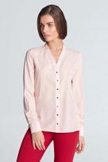 Różowa Koszulowa Bluzka z Długim Rękawem Zapinana na Ozdobne Napki