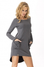 Grafitowa Dresowa Asymetryczna Sukienka z dużymi kieszeniami