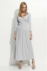 Szara  Sukienka Wizytowa Długa z Kopertowym Dekoltem