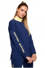 Oryginalna Bluza z Kontrastowym Golfem - Atramentowa