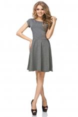 Szara Sukienka Klasyczna Rozkloszowana z Mini Rękawkiem