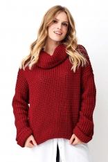 Bordowy Oversizowy Sweter z Golfe