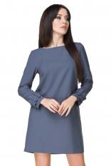 Niebieska Sukienka z Falbanką przy Rękawie