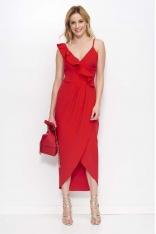 Czerwona Sukienka Długa Kopertowa z Falbankami