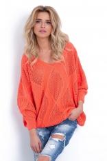 Koralowy Ażurowy Sweter z Dekoltem V z Przodu i na Plecach