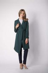 Zielony Elegancki Płaszcz z Falbanką na Rękawie
