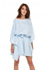 Niebieska Luźna Asymetryczna Sukienka z Wiązanym Paskiem