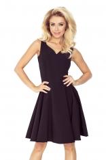 Czarna Sukienka Elegancka Rozkloszowana na Szerokich Ramiączkach