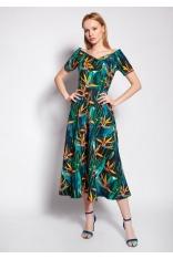 Midi Sukienka z Dekoltem Carmen - Bambus