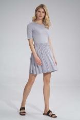 Krótka Wiskozowa Sukienka na Lato - Jasnoszara