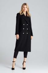 Czarny Długi Klasyczny Płaszcz z Dwurzędowym Zapięciem
