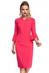 Różowa Sukienka Ołówkowa Midi z Hiszpańskim Rękawkiem