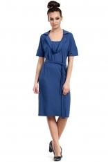 Niebieska Sukienka do Kolan z Wykładanym Kołnierzem