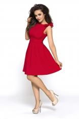 Czerwona Urocza Sukienka z Kokardkami na Ramionach