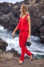 Czerwony Elegancki Kombinezon z Dwuwarstwową Górą