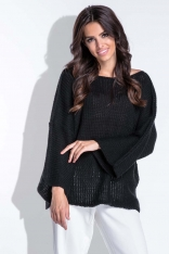 Luźny Czarny Sweter z Szerokim Rękawem