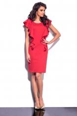 Czerwona Sukienka Midi z Pionowymi Falbankami