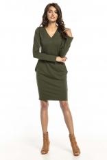 Zielona Dzianinowa Sukienka z Dekoltem V