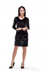 Czarna Sukienka ze Srebrnymi Guzikami z Materiału a'la aksamit