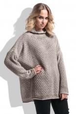 Mocca Oversizowy Moherowy Sweter z Golfem