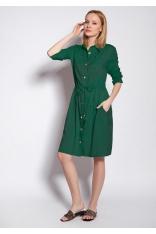 Sukienka Koszulowa z Podpinanym Rękawem - Zielona