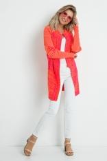Pomarańczowy Asymetryczny Kardigan w Bloki Kolorów