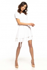 Biała Kimonowa Wizytowa Sukienka z Falbankami