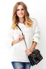 Ecru Oversizowy Sweter Wykonany Angielskim Ściegiem