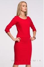 Czerwona Modelująca Dzianinowa Sukienka z Długim Rękawem