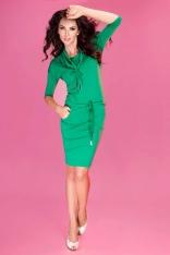Zielona Sukienka Ołówkowa z Golfem Wiązana w Pasie