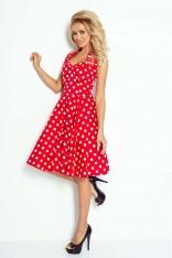 Czerwono Biała Sukienka Rozkloszowana w Grochy Rockabilly Pin Up
