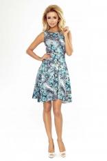 Sukienka Rozkloszowana bez Rękawów w Niebieskie Róże