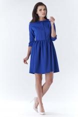 Niebieska Elegancka Sukienka z Okrągłym Kołnierzykiem