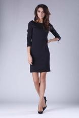 Krótka Dopasowana Sukienka z Elementami Drapowania - Czarna
