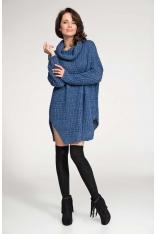 Niebieski Sweter Długi z Szerokim Golfem