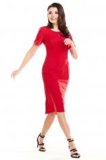 Czerwona Elegancka Dopasowana Midi Sukienka z Krótkim Rękawem