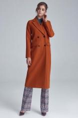 Miodowy Elegancki Długi Płaszcz Dwurzędowy
