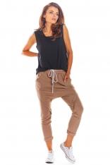 Dresowe Spodnie z Obniżonym Krokiem - Beżowe