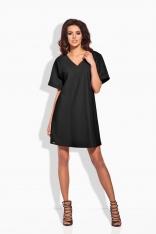 Czarna Sukienka Oversized Sportowa