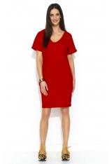 Czerwona Dzianinowa Letnia Sukienka z Kieszeniami