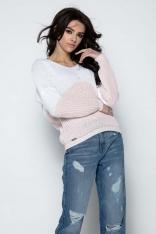 Pudrowy Sweter Dwubarwny Krótki z Dekoltem w Szpic