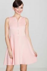 Różowa Rozkloszowana Sukienka z Ozdobnym Suwakiem
