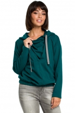 Zielona Krótka Oryginalna Bluza z Kapturem