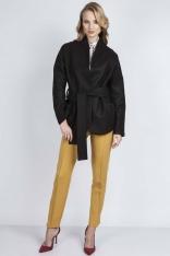 Czarny Płaszcz Krótki Elegancki z Wiązanym Paskiem
