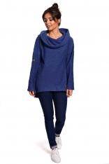 Indygo Asymetryczna Bluza Oversize z Kapturem