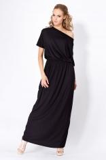 Czarna Maxi Sukienka z Gumką w Tali z Krótkim Rękawem